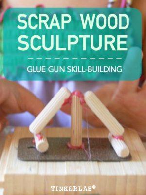 Scrap wood sculpture lesson for preschool