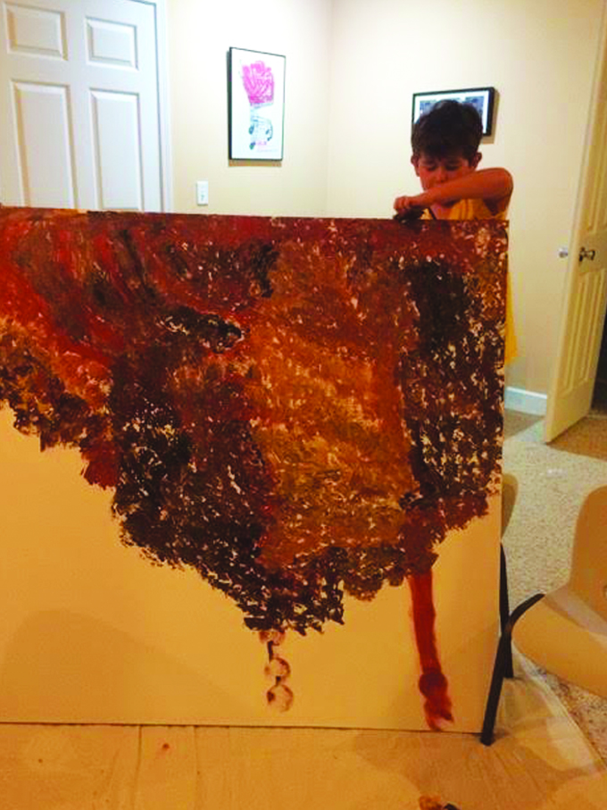 child painting abstract canvas