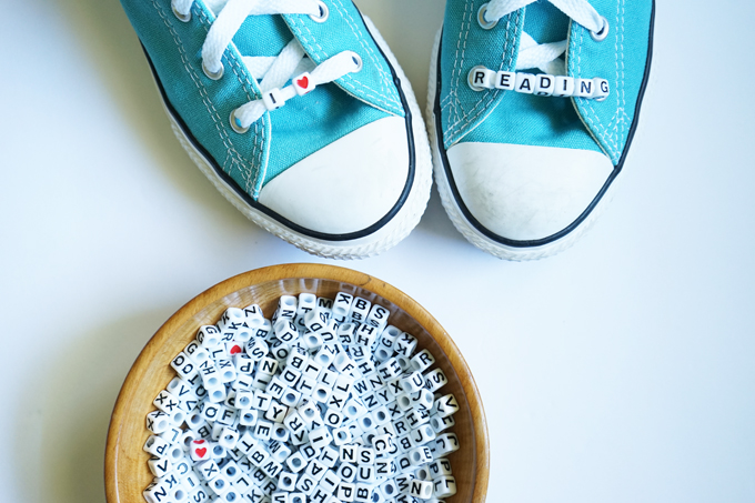 i heart reading shoe beading