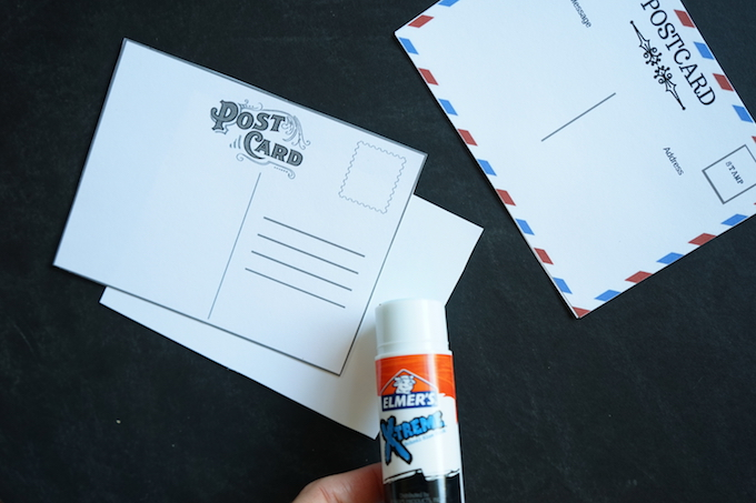 elmers glue stick on postcard