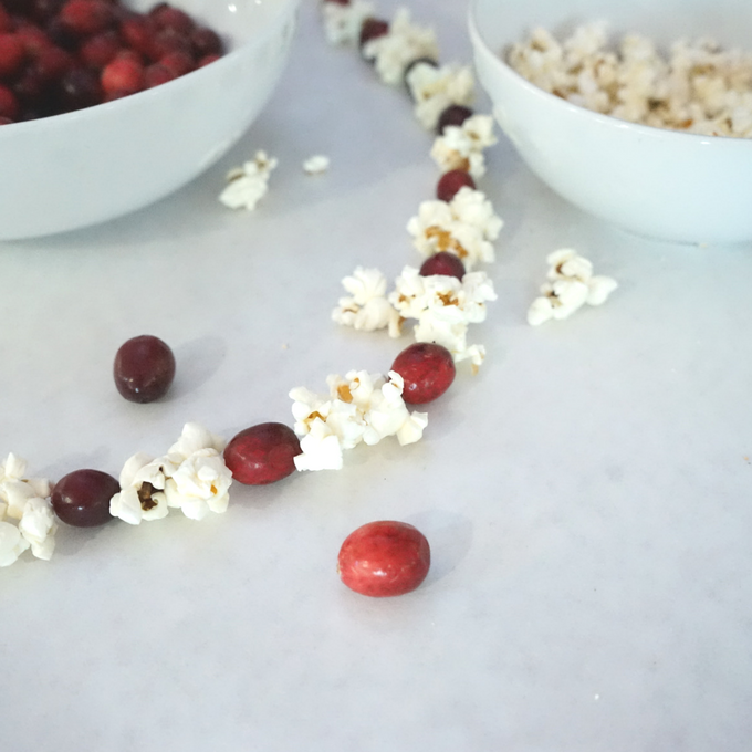 DIY cranberry popcorn garland