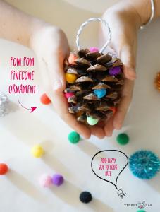DIY kids pinecone Christmas ornament