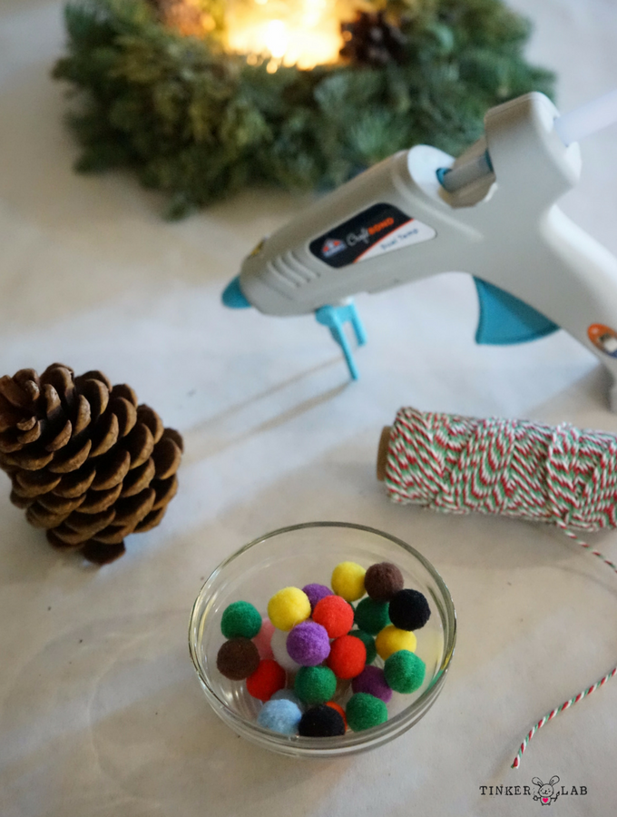 DIY kids pinecone Christmas ornament supplies