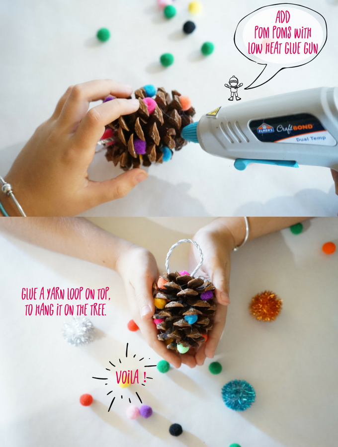 easy kids pinecone Christmas ornament