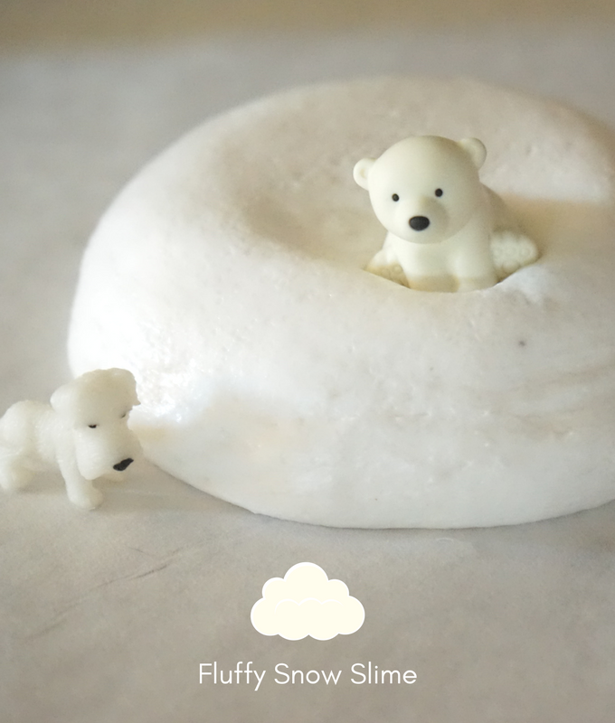 fluffy stretchy sensory snow slime