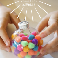 Pom pom Christmas bauble craft project for kids