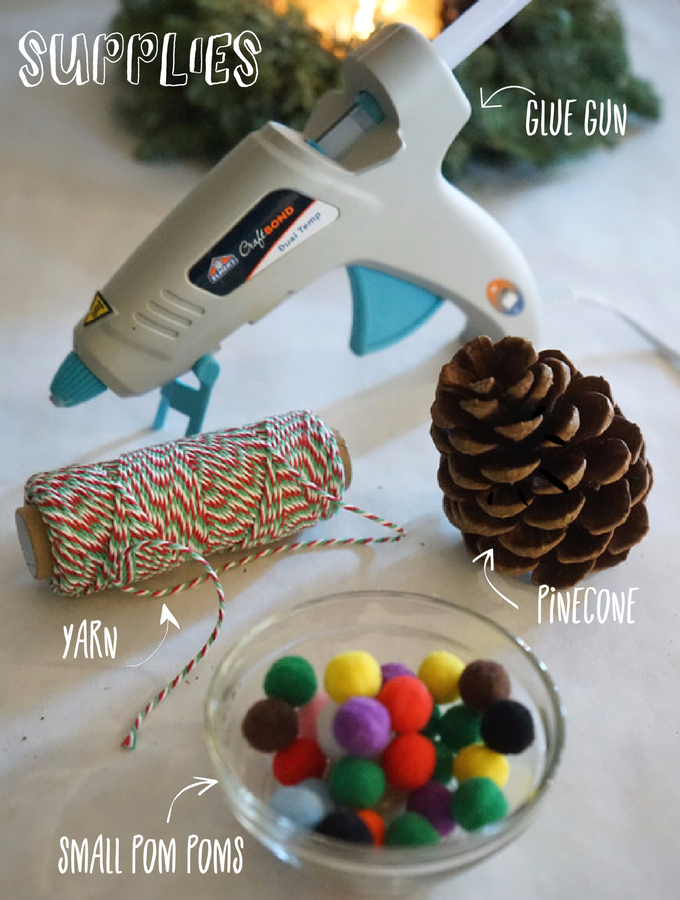 pom pom pinecone ornament supplies