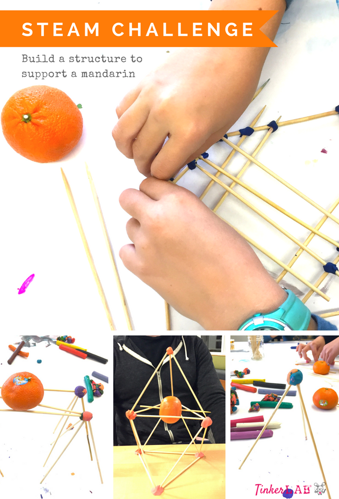 STEAM activity challenge for kids: engineering challenge to support a mandarin