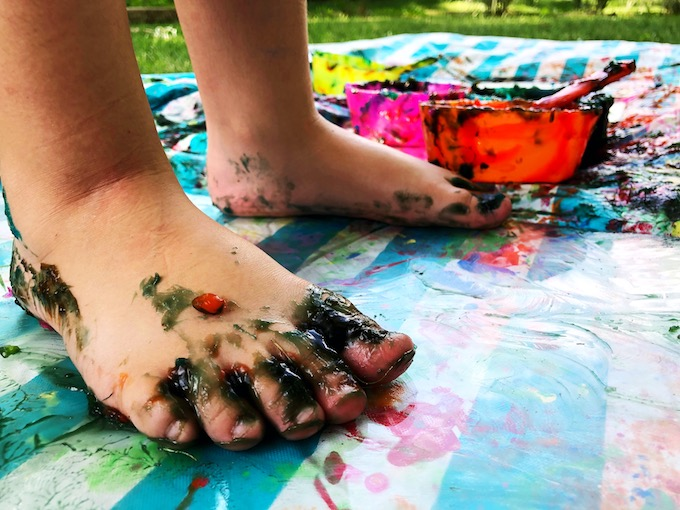 feet with homemade edible paint