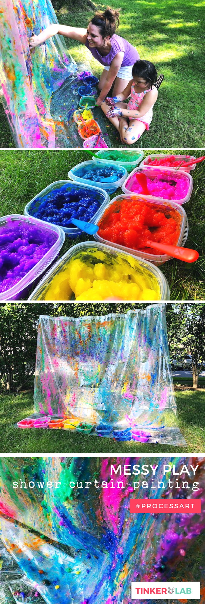 Messy Play Outdoor Art Project with Homemade Gel Paint - TinkerLab