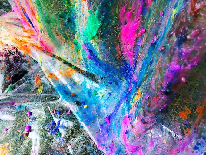 gel paint on shower curtain