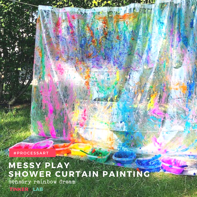 messy play shower curtain painting