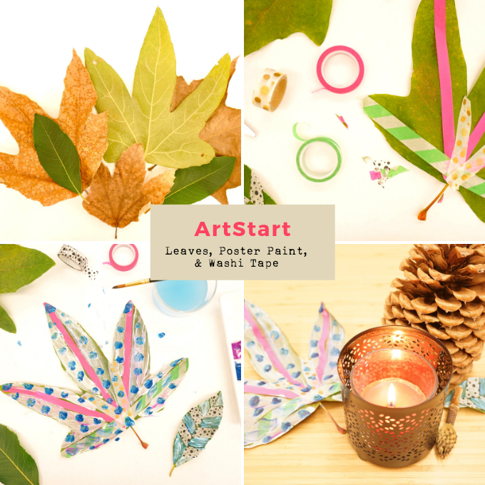 ArtStart: Tape, Poster Paint, and Leaves