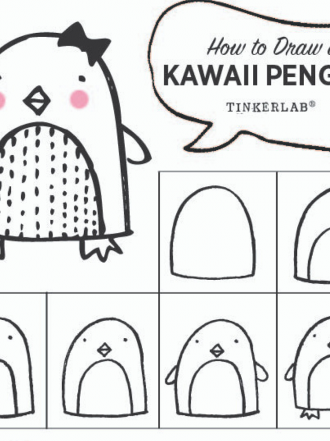 Easy Drawing Ideas | Kawaii Cute Penguin Drawing