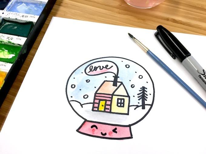 How To Draw A Cute Snow Globe Tinkerlab
