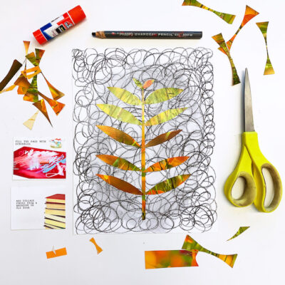 Scribble art collage, a playful drawing idea