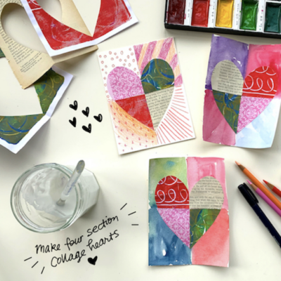 Make Collage Hearts on watercolor paper in four sections