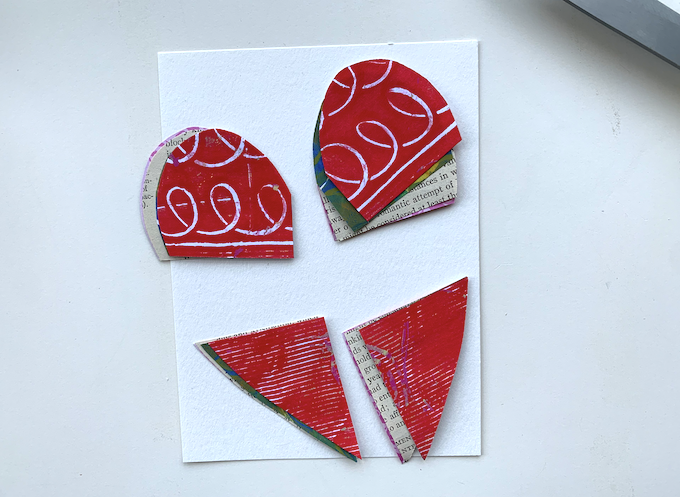 collage hearts cut into four pieces