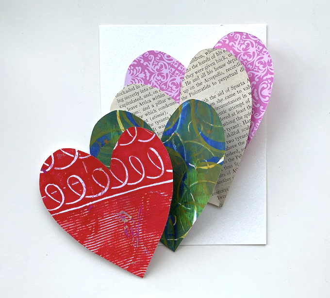 collage hearts cut to fit watercolor paper
