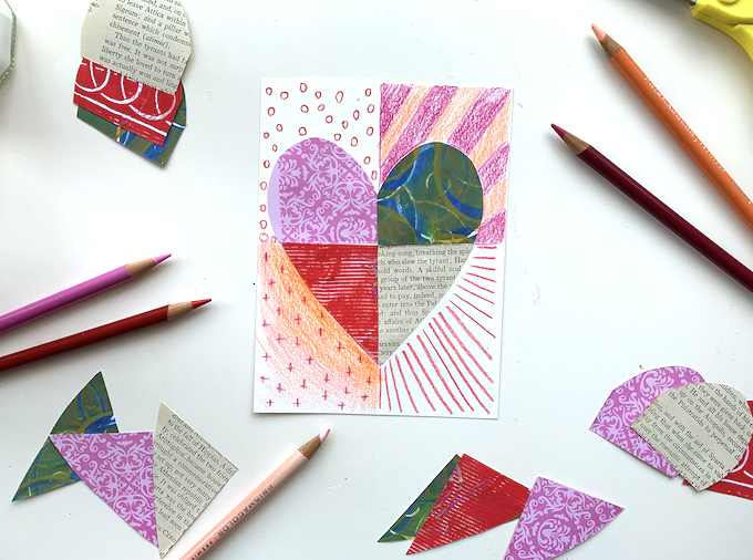 collage hearts with colored pencil